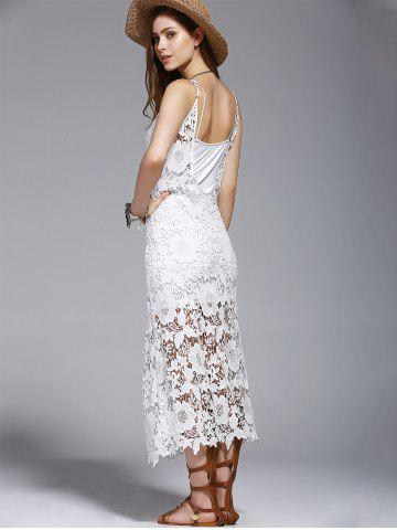 Best Crochet See-Through Lace Cover Up Dress - S WHITE Mobile