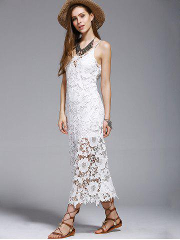 Hot Crochet See-Through Lace Cover Up Dress - S WHITE Mobile