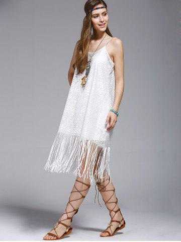 Fancy Fashionable Tassel Spaghetti Straps Hollow Out Dress For Women - S WHITE Mobile