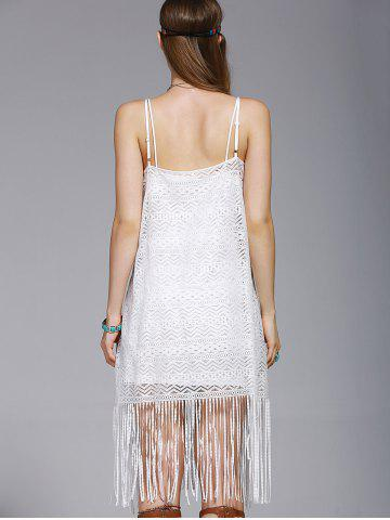 Store Fashionable Tassel Spaghetti Straps Hollow Out Dress For Women - S WHITE Mobile