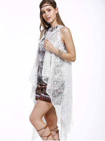 Discount Chic Women's Lace Fringed Spliced Cover-Up - ONE SIZE(FIT SIZE XS TO M) WHITE Mobile