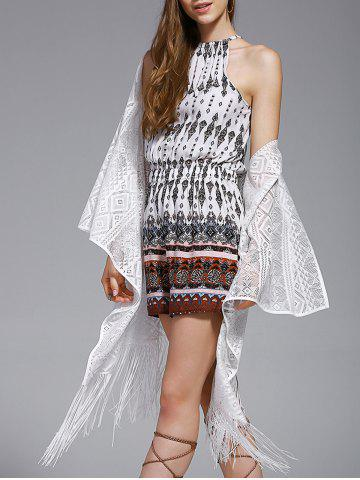 Hot Chic Women's Lace Fringed Spliced Cover-Up - ONE SIZE(FIT SIZE XS TO M) WHITE Mobile