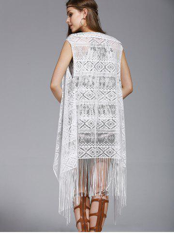 Affordable Chic Women's Lace Fringed Spliced Cover-Up - ONE SIZE(FIT SIZE XS TO M) WHITE Mobile
