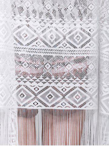 Fancy Chic Women's Lace Fringed Spliced Cover-Up - ONE SIZE(FIT SIZE XS TO M) WHITE Mobile