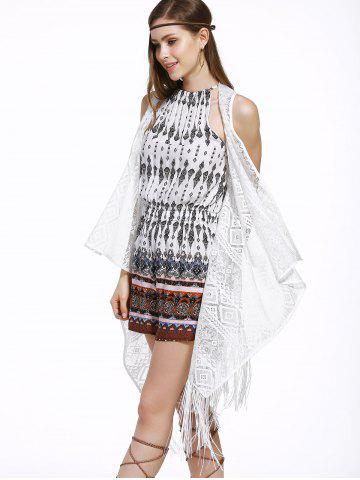 Fashion Chic Women's Lace Fringed Spliced Cover-Up - ONE SIZE(FIT SIZE XS TO M) WHITE Mobile