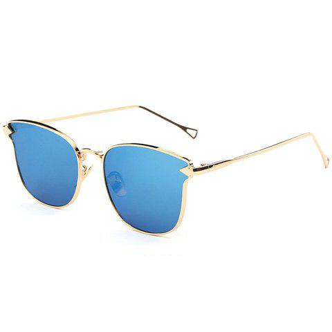 Buy Stylish Classic Flash Lens Metal Golden Cat Eye Mirrored Sunglasses For Women ICE BLUE