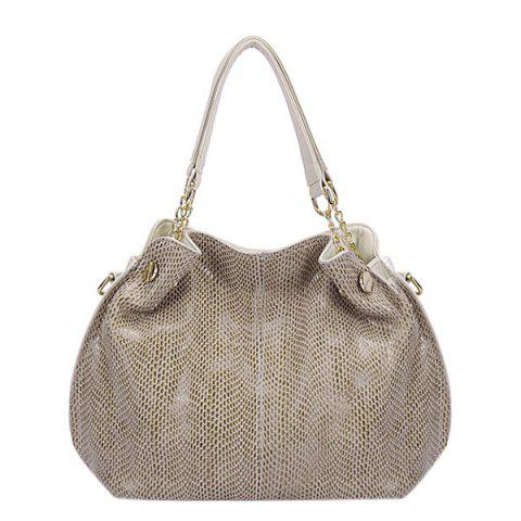Fancy Fashion Solid Color and Snake Print Design Tote Bag For Women - OFF-WHITE  Mobile