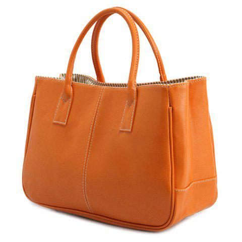 Outfit Concise Candy Color and PU Leather Design Tote Bag For Women - ORANGE  Mobile