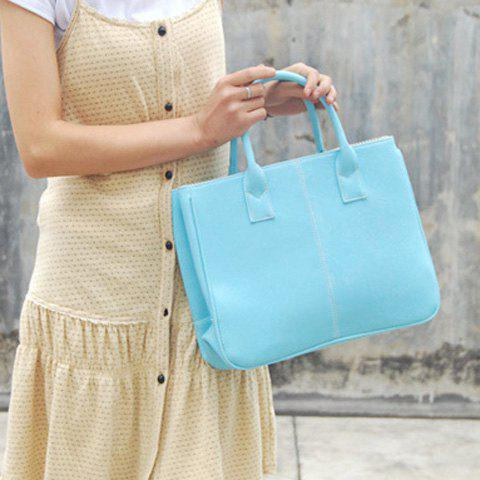 Affordable Concise Candy Color and PU Leather Design Tote Bag For Women - LIGHT BLUE  Mobile