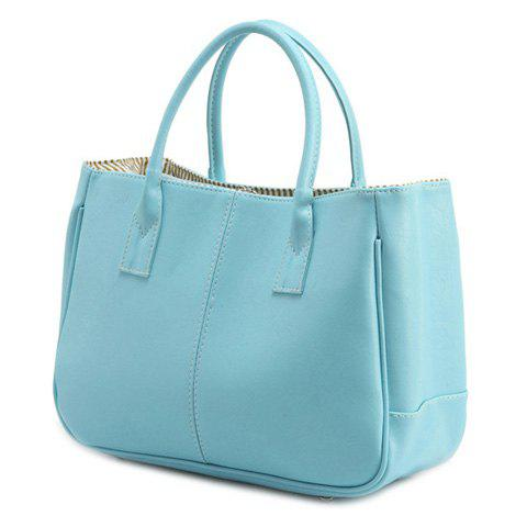 Latest Concise Candy Color and PU Leather Design Tote Bag For Women LIGHT BLUE
