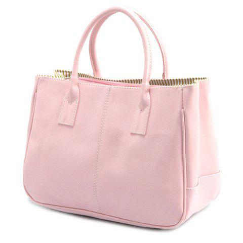 Concise Candy Color and PU Leather Design Tote Bag For Women - Pink