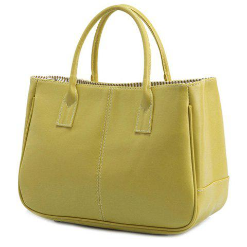 Best Concise Candy Color and PU Leather Design Tote Bag For Women BLUISH YELLOW