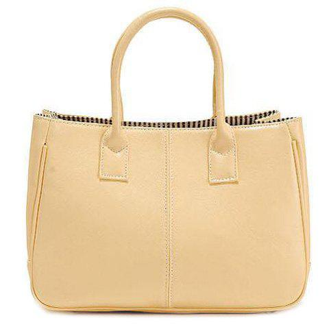 Chic Concise Candy Color and PU Leather Design Tote Bag For Women - BEIGE  Mobile