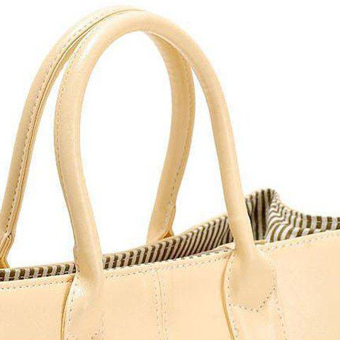 Unique Concise Candy Color and PU Leather Design Tote Bag For Women - BEIGE  Mobile