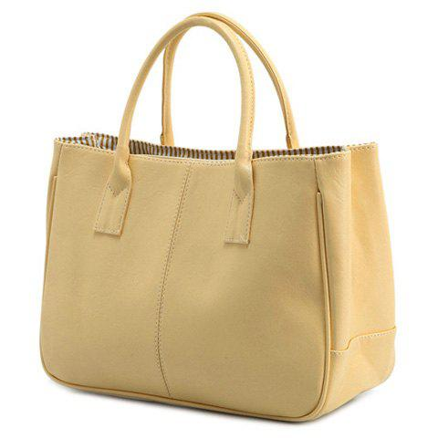 Outfit Concise Candy Color and PU Leather Design Tote Bag For Women BEIGE