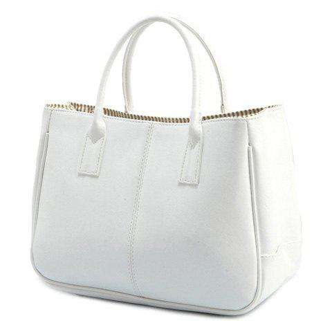 Chic Concise Candy Color and PU Leather Design Tote Bag For Women - WHITE  Mobile
