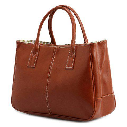 Latest Concise Candy Color and PU Leather Design Tote Bag For Women - BROWN  Mobile
