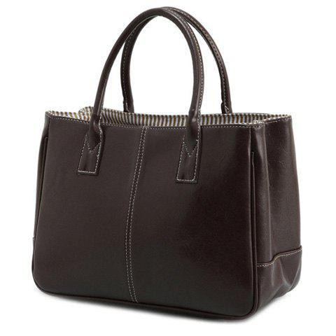 Affordable Concise Candy Color and PU Leather Design Tote Bag For Women DEEP BROWN