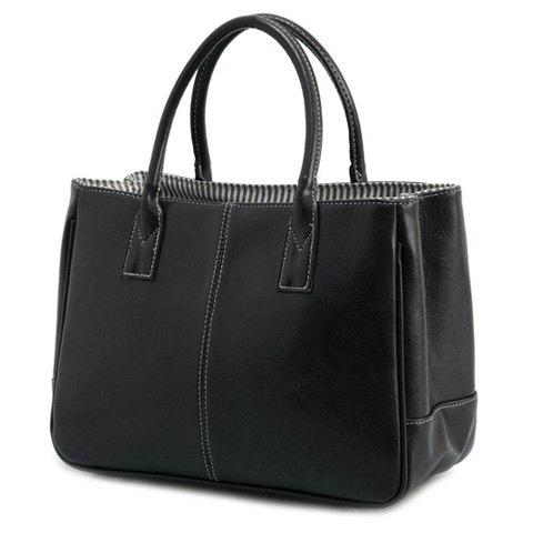 Unique Concise Candy Color and PU Leather Design Tote Bag For Women BLACK