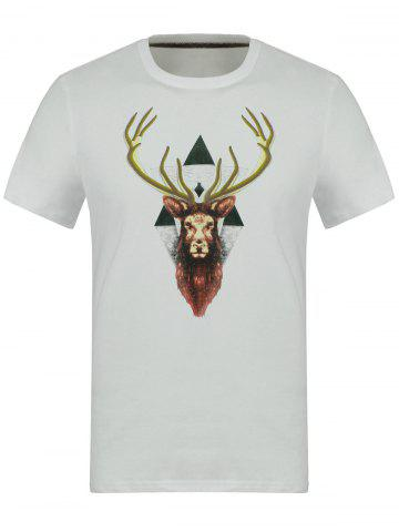 Discount Cotton 3D Elk Embroidery Round Neck Short Sleeve T-Shirt