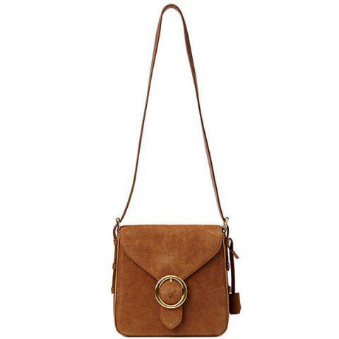 New Leisure Buckle and Brown Design Crossbody Bag For Women - BROWN  Mobile