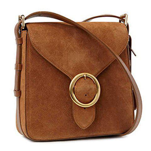 Outfit Leisure Buckle and Brown Design Crossbody Bag For Women - BROWN  Mobile