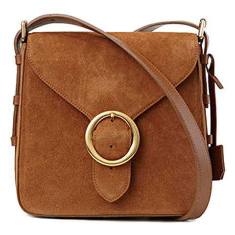 Cheap Leisure Buckle and Brown Design Crossbody Bag For Women - BROWN  Mobile