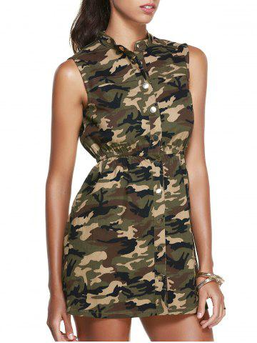 Affordable Stand Collar Sleeveless Camo Shirt Dress CAMOUFLAGE L