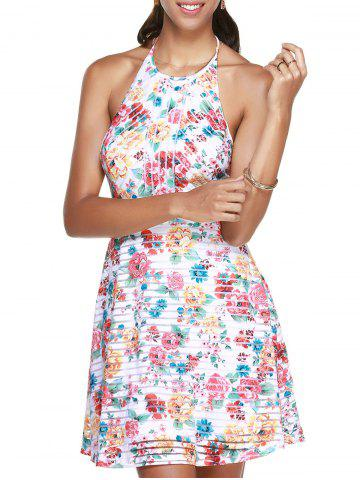 Fashion Mini Floral Halter Neck Backless Summer Dress COLORMIX XL