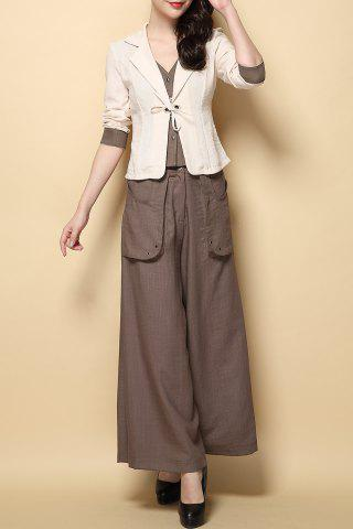 Chic Blazer and Wide Leg Pants with Pockets