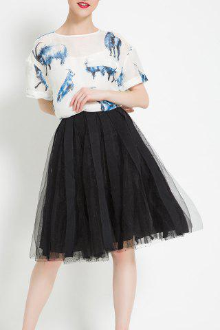 Best Knee Length Mesh Panel Skirt