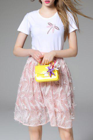 Online Beaded Short Sleeve T-Shirt and Feather Skirt Twinset