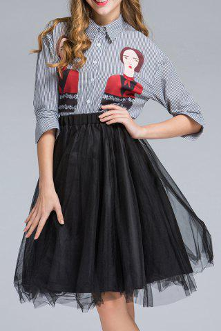Store Striped Shirt and Orgnaza Skirt Twinset