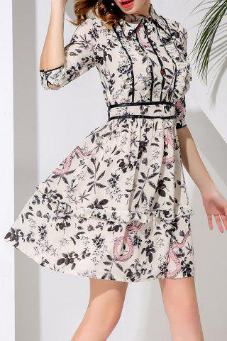Online Single-Breasted Waisted Corset Print Dress