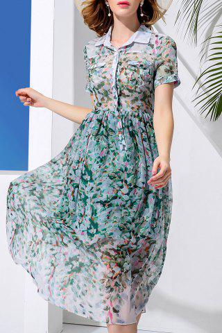 Cheap Double Pocket Leaves Print Dress