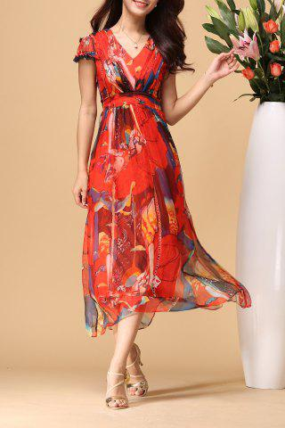 Chic V Neck Printed Elastic Waist Beach Dress