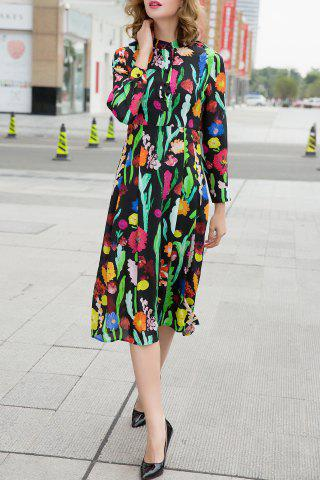 Online Single-Breasted Print Dress