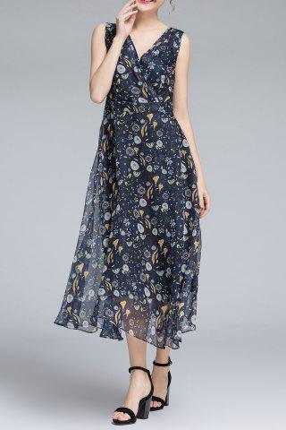 Outfit Crossover Sleeveless Printed Flowy Dress