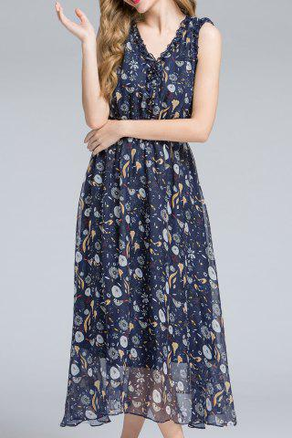 New Sleeveless Frilled Neckline Midsummer Dress