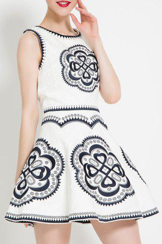 Sale Embroidered Sleeveless Flared Dress