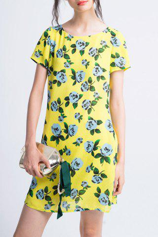Chic Flower Print Back Tie Dress