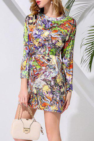 Affordable Waisted Corset Abatract Print Dress