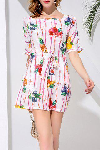 Chic Belted Fruit Print Mini Dress