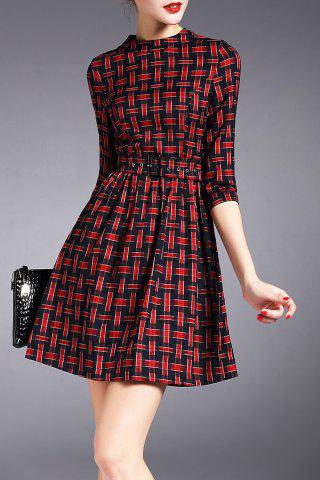 Buy Checked Mini Dress with Belt RED L