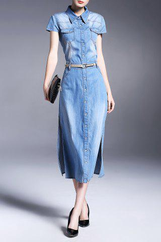 Buy Button Detail Side Slit Denim Shirt Dress