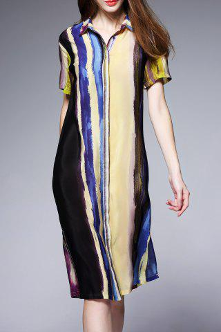 New Hit Color Silk Shirt Dress
