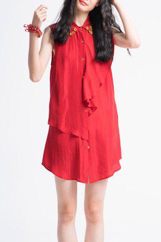 Outfits Button Front Ruffle Shirt Dress