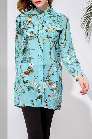 Store Fitting Green Leaves Print Shirt