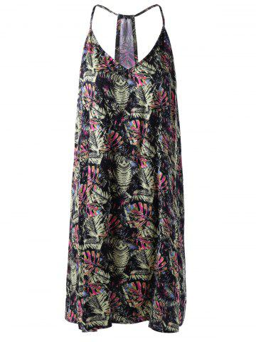 Discount Casual V-Neck Spaghetti Stap Loose-Fitting Print Dress