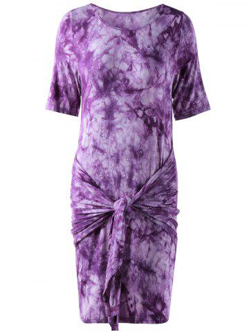 Online Fashionable Round Collar Short Sleeve T-shirt Dress - S WHITE AND PURPLE Mobile